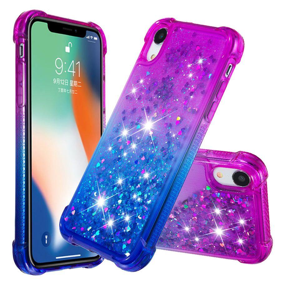 Custodia Glitter IPhone X XR XS MAX Cover Donna Donna Carino TPU 6 6s 7 8 Plus Custodia Galleggiante Liquid Quicksand Shell Protettiva Da ...