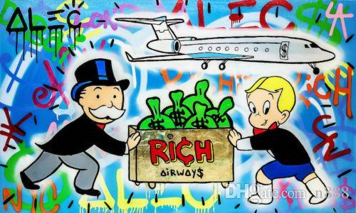 Alec Монополия картина маслом на холсте Urban Art Wall Decor Rich Airways Главная Wall Art расписанную HD печати Picture 190919