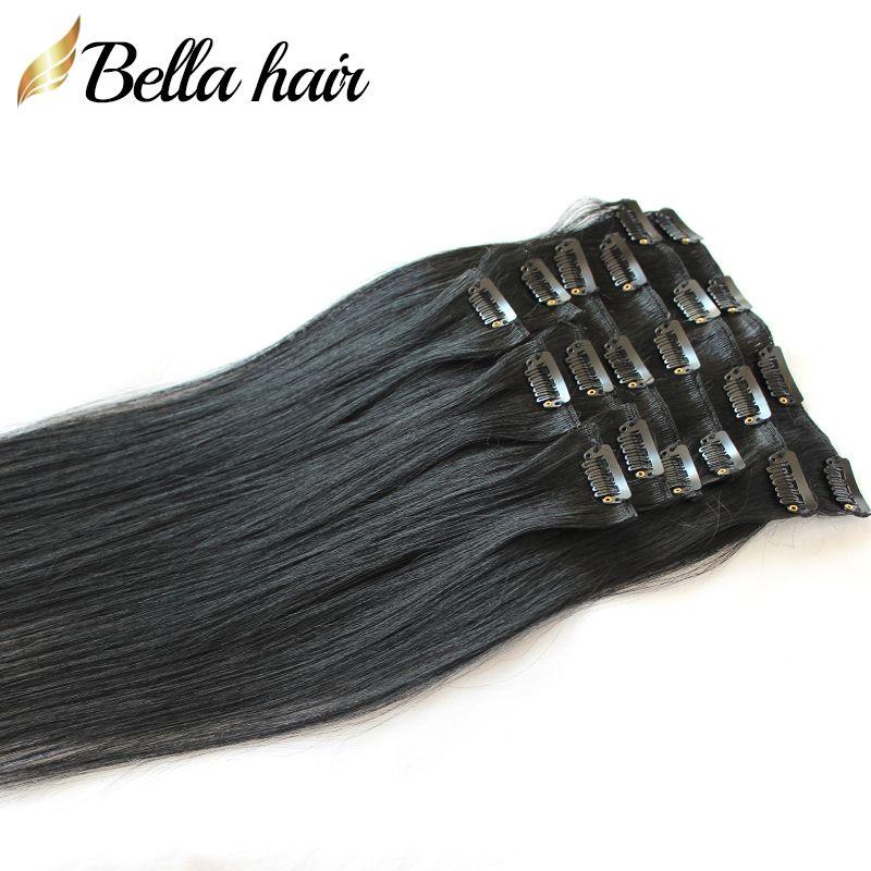 Desconto de clipe elegante em / em extensões de cabelo Natural Straight Human Human Weaves # 1 Cor Virgem Cabelo 20inch 100g / Set Bellahair