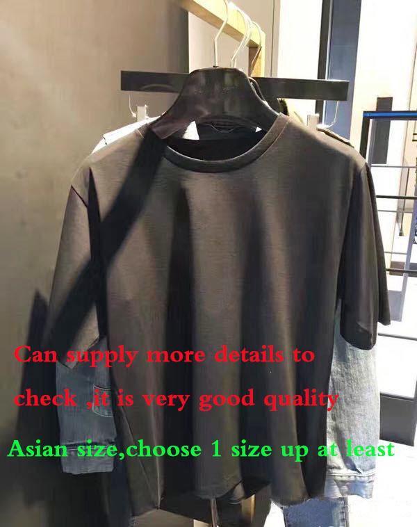 2020SS رسالة موضة تصميم الرجال القطن قصير الأكمام عارضة تي شيرت النساء سليم آسيا حجم S-XXL