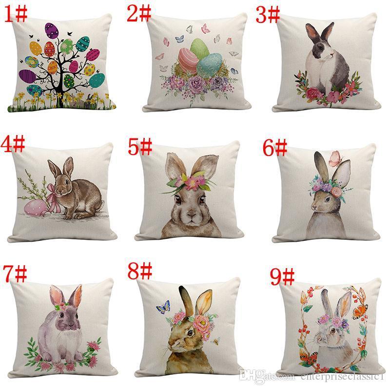 9 estilos de coelho da páscoa fronha capa de almofada ovo flor impressão fronha sofá almofada almofada capas de decoração para casa 45 * 45 cm