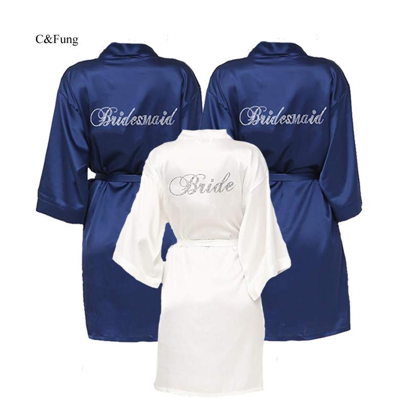 C&Fung dark blue bride robe Women's Bridesmaid Kimono Robes Satin Rhinestone Short Wedding Kimono Bathrobe Brides Wedding Party