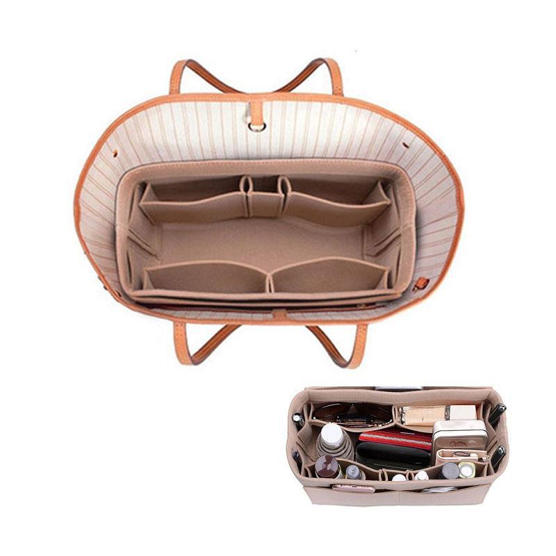 Womens Felt Cloth Cosmetic Bag Makeup Organizer Multifunctional handbag Insert Bag for Travel Storage Bag Organizer
