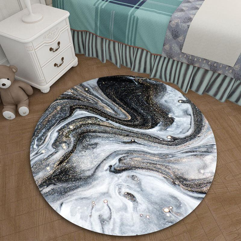 Motivo de onda de agua Negro y negro de mármol Más Tamaño Ronda de escritorio Etiqueta Una sala dormitorio subsidios de tierras impermeable Yx011