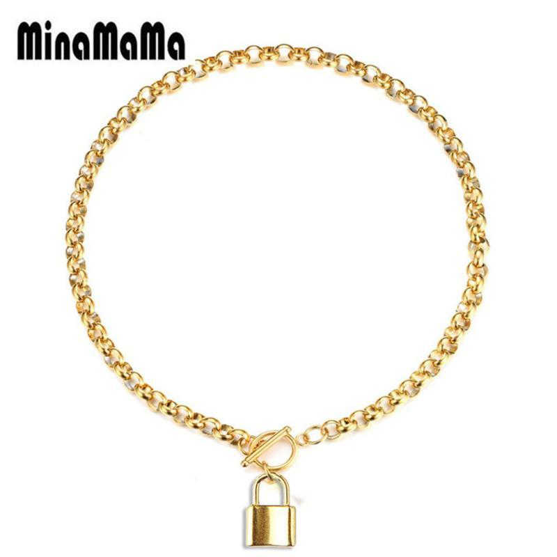Stainless Steel Rose Gold colore dell'argento PadLock pendente Bone collegamento Chain Desgin collane di blocco per la donna Jewelry Charms
