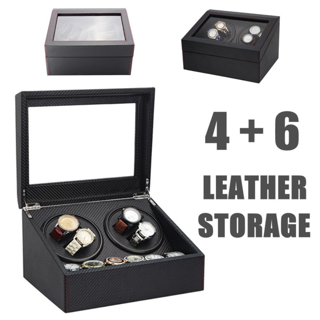 4 + 6 التلقائية ووتش ويندر خشبي مزدوج التلقائي 2 موتور صندوق تخزين حالة منظم عرض الرف حامل ووتش مربع أسود