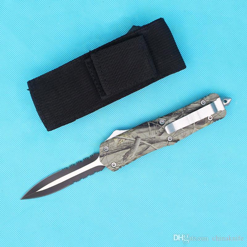 16pcs / lot DHL rápida del cuchillo de bolsillo del envío A07 automática de doble acción de caza plegable cuchillo de la supervivencia de Navidad para los hombres