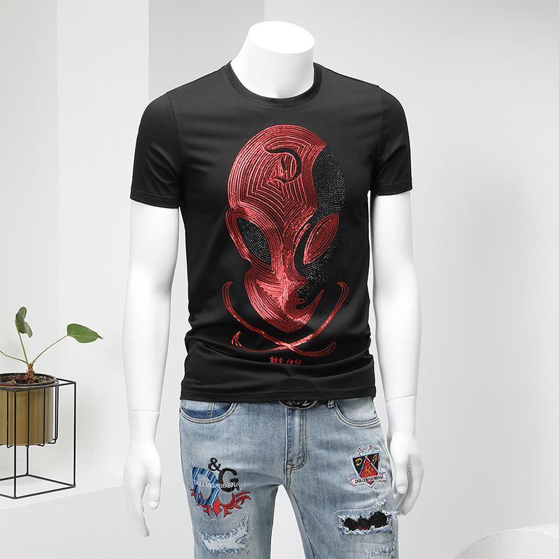 2020 летняя новая футболка с короткими рукавами мужская хлопковая стрейч-тонкая круглая шея вышивка горячий горный хрусталь тренд мода нижняя рубашка