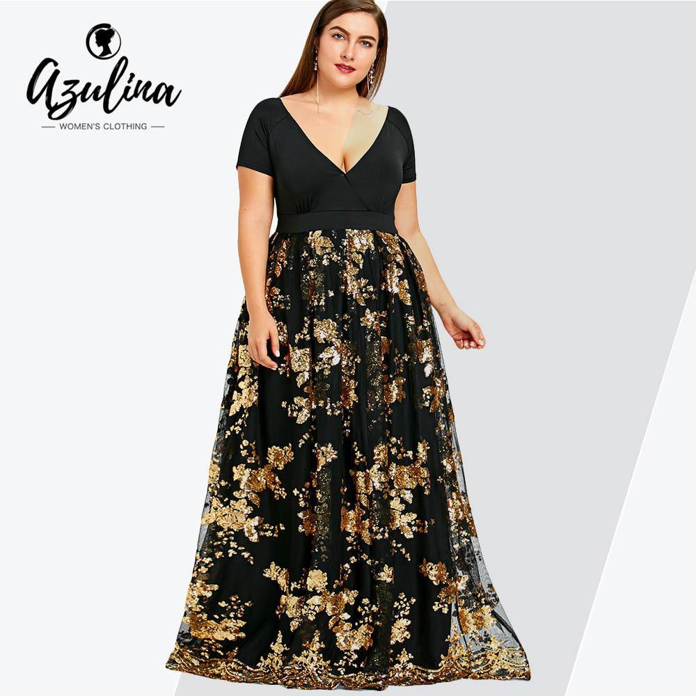 Rosegal Artı Boyutu Çiçek Payetli Maxi Elbise Kadınlar Derin V Boyun Kısa Kollu Bayanlar Elbiseler Zarif Akşam Parti Vestidos Elbise T5190613