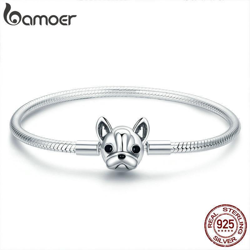 Bamoer 100% Hakiki 925 Ayar Gümüş Fransız Bulldog Doggy Yılan Zincir Kadın Bileklik Bilezik Gümüş Takı 17-19 cm Scb075 Y19051002