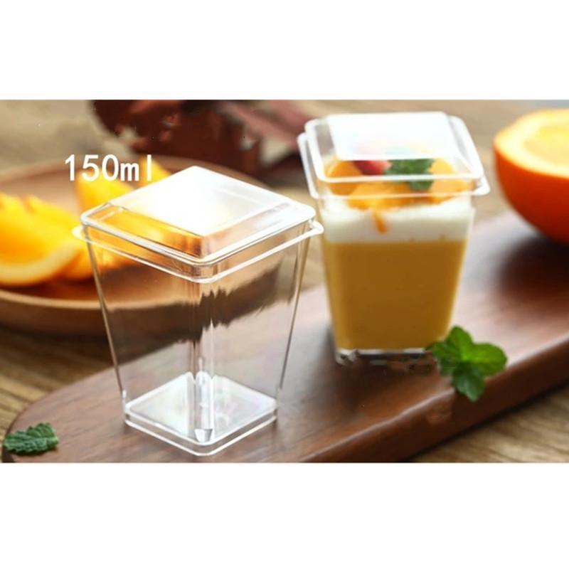 25PCS 150ML كبير الموس كأس الحلوى مع غطاء واضح الحلوى الحزب كأس اكسسوارات الزفاف لوازم المتاح أدوات المائدة البلاستيكية