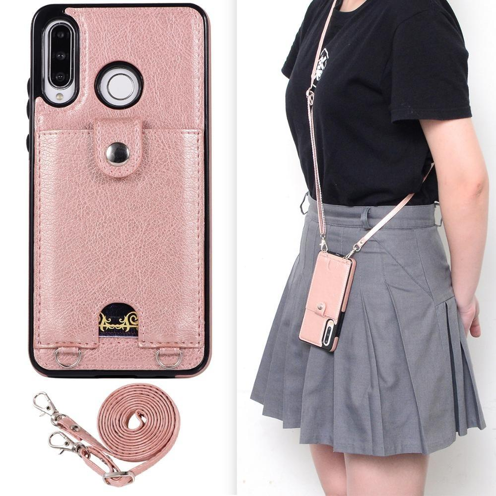 For Huawei P30 Mate 20 Lite P30 Mate 20 30Pro Wallet Leather Case Card Holder Cover with Lanyard Protection Necklace Cord Phone Bag