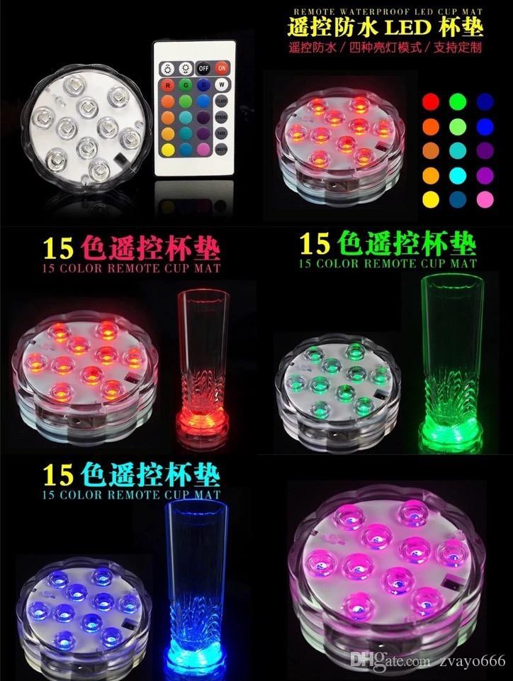 Светодиодный светильник для вечеринки Водонепроницаемый Uplighter Свадьба Декоративный свет RGB Светодиодные подставки под круглые барные принадлежности дистанционного управления