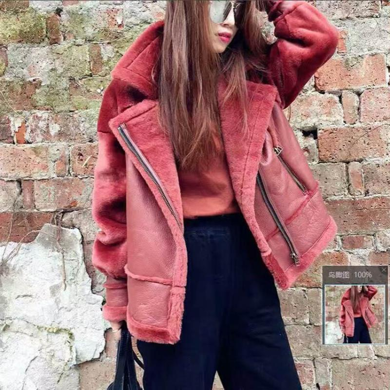 2019 New Real Sheepskin Fur Coats Double-faced Jackets Loose Short Female Warm Outerwear Black Slim Real Fur Clothes