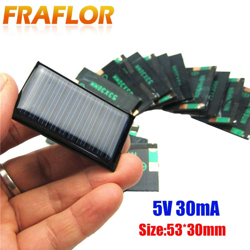 Consumer Electronics 10Pcs/Lot 5V 30mA 53X30mm Micro Mini Small Power Solar Cells Panel For DIY Toy, 3.6V Battery Charger Solar LED Light