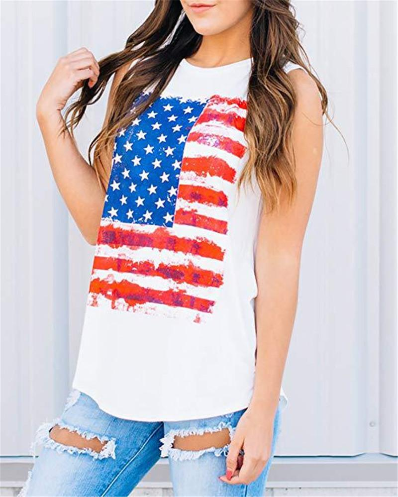 2020 Summer New Women American Flag Print Tank Top Sleeveless O-Neck Tanks Female Casual Tops Clothing Women Streetwear Vest
