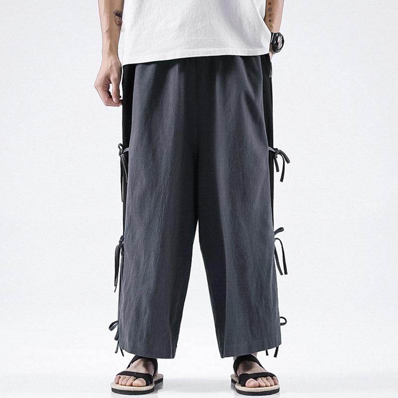 2020 Mode Hommes Vintage taille élastique Pantalones hommes Pantalon large Leg Casual Coton Pantalons Joggers Patchwork lacent Bas