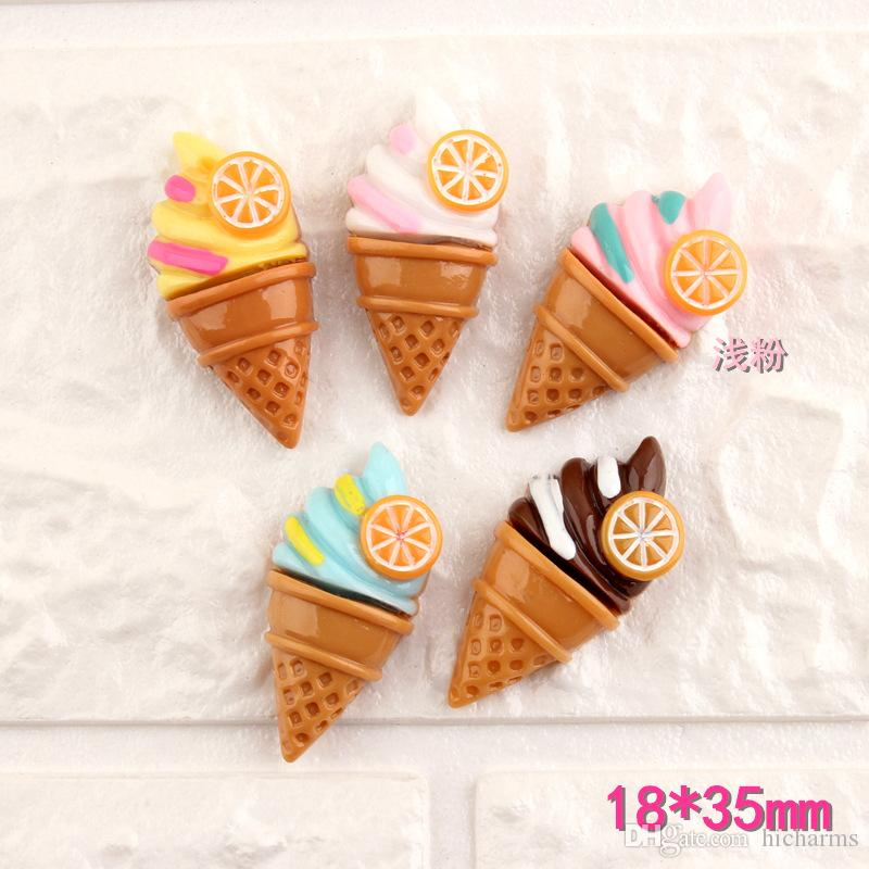 Mix 100pcs 18*35MM DIY resin summer food ice cream cone charms cabochon ornament craft pendants decoration jewelry making material