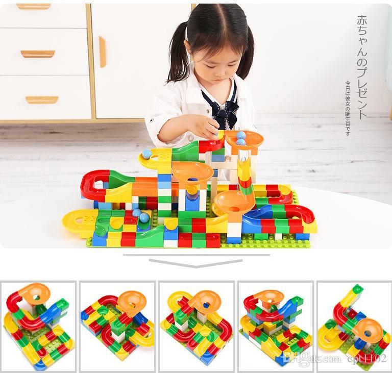 Blocos de Construção de Bola Louca Mármore Corrida Corrida Maze Bola Pista de Blocos de Construção De Plástico Funil Brinquedo Slide