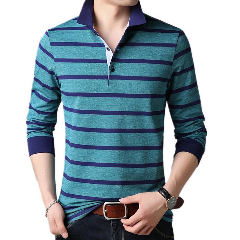 남성 스트라이프 셔츠 남성 옷 2019 남성 긴 소매 캐주얼 Silm Polos 파라 아저씨 브랜드 통기성면 혼방 옴므