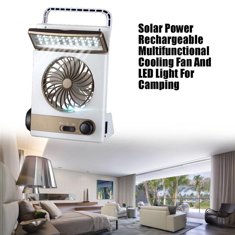 Fan LED de energia solar 2000mAH recarregável Multifunctional de refrigeração LED Tent Luz da lâmpada da lanterna Refrigerador Mini Fan Para Camping