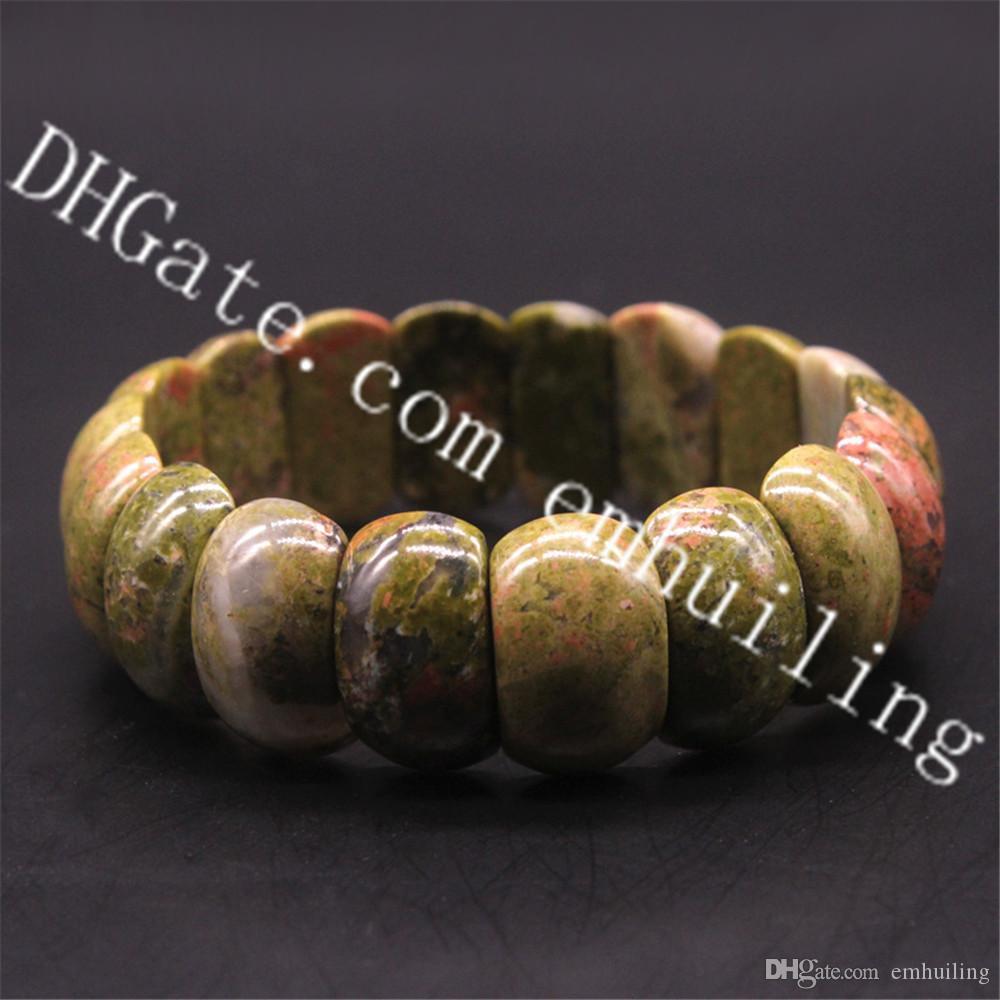 10Pcs Genuine Semi Precious Gemstone Polished Natural Unakite Jasper Beaded Stretchable Bracelet Handmade Chunky Unakite Nugget Bracelets