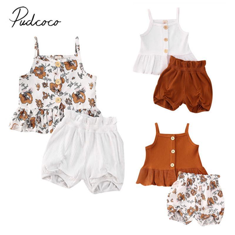Одежда наборы одежды Pudcoco лето рождено малыш дети дети девочка 2 шт. / Комплект одежды Без рукавов жилет топы платье Цветочные шорты брюки ребристые наряд 1-5т