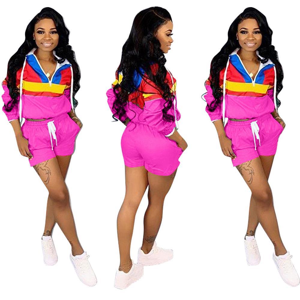 صيف جديد أزياء المرأة هوديي 2 قطعة مجموعة رياضية الأعلى مع سراويل رياضية الرياضة الحجم S-3XL