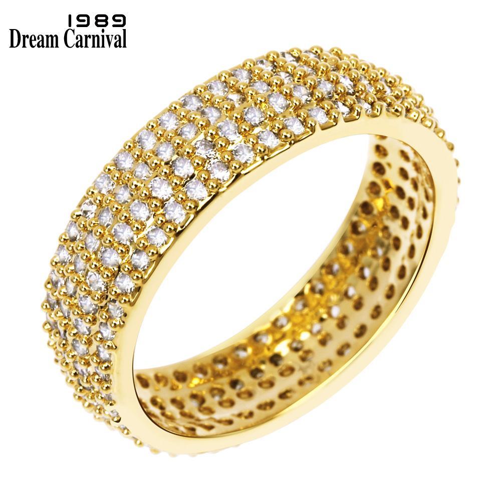 DreamCarnival 1989 أنيقة مساء المجوهرات عصابة العروسة للنساء أعلى جودة واضحة تشيكوسلوفاكيا ستون لون الذهب خاتم الزفاف YR7245