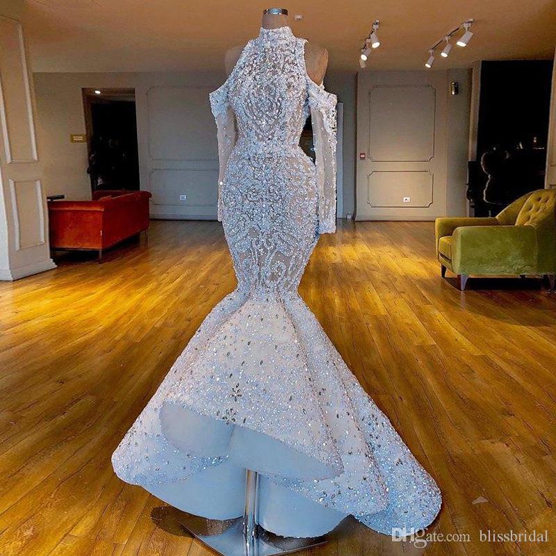 Luxurious Mermaid Stunning 2019 African Dubai WeddingDresses High Neck Beaded Crystals Bridal Dresses Long Sleeves Wedding Gowns