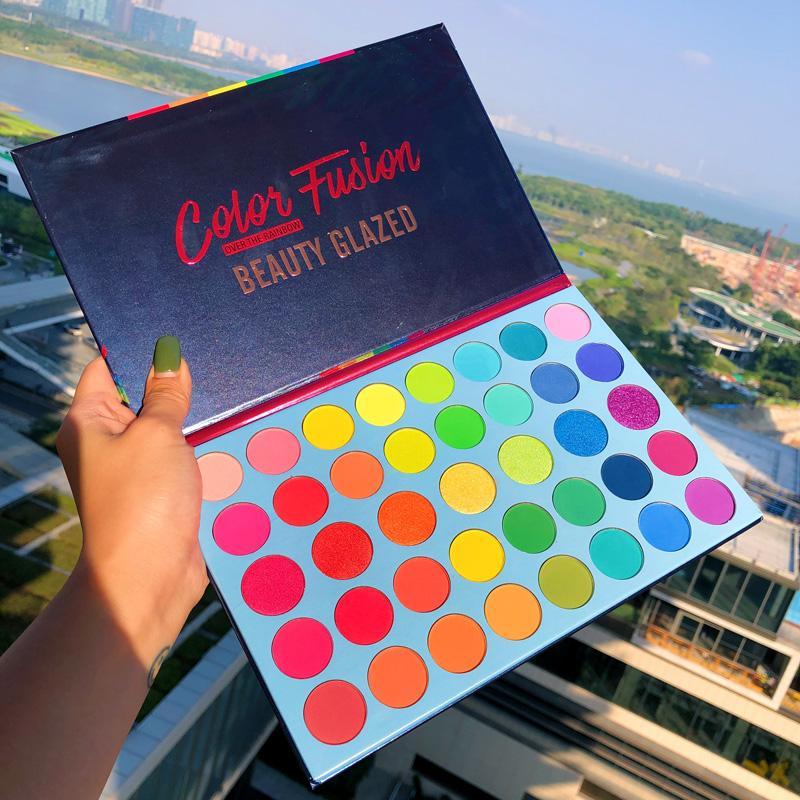 Güzellik Sırlı 39 Renkler Glitter Mat Göz Farı Paleti Floresan Gökkuşağı Disk Vurgulamak Göz Farı Paleti Maquillage
