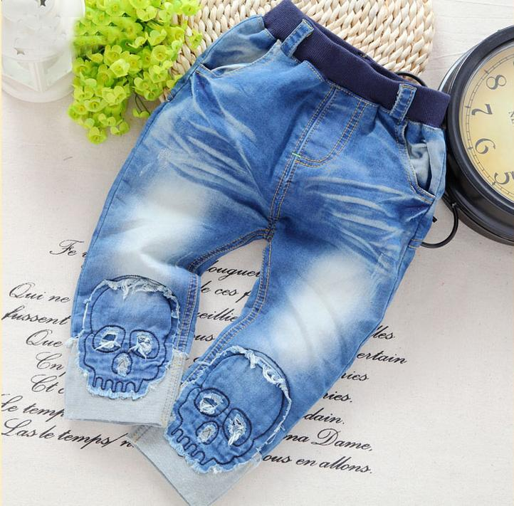 NEW! free shipping 2018 spring autumn cool boys cotton soft Skull jeans,Loose baby boy jeans boy jeans long pants
