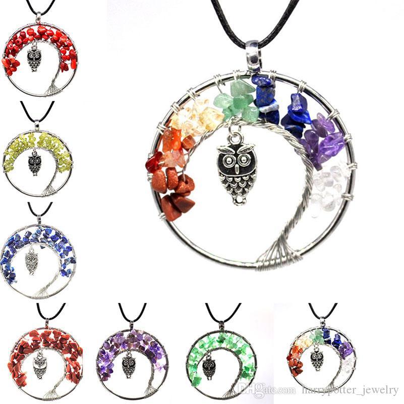 Moda Mulheres Arco-Íris 7 Chakra Tree of Life Pingente Colar Quartz Coruja Multicolor Pedra Natural Sabedoria Colares Jóias