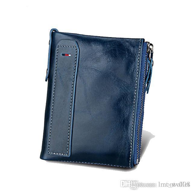 RFID Brieftaschen blockieren Lederfrauen Neue stilvolle Geldbörsen Geldbörse Kuh und männliche Bifold Echte Karte mit Tasche RFID-Schutz JFHHM