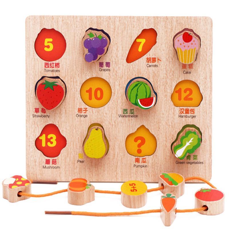 유아 조기 교육 완구 아기 손으로 파악 나무 퍼즐 장난감 과일 / 동물 줄무늬 스레딩 학습 장난감 아이 우드 퍼즐 장난감