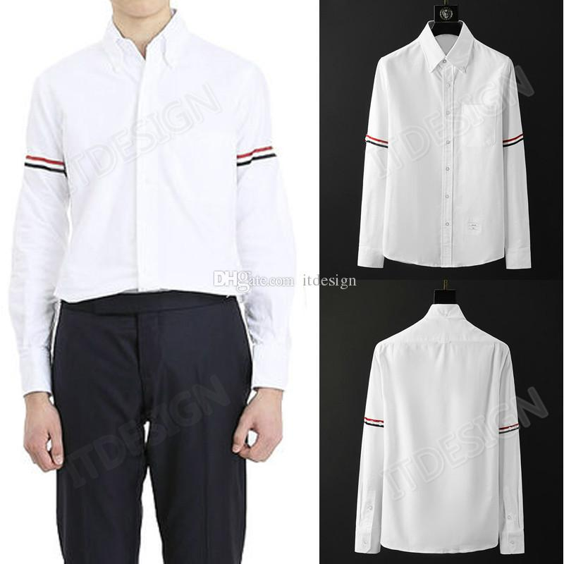 Fashion Design 2020 Men's Street Style Classic Arm Stripe Regular-fit Long-Sleeve Oxford Shirt With Pocket For Man