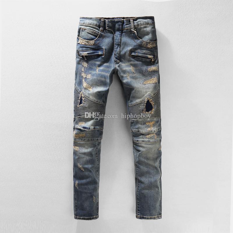 Известные джинсы Проблемные рваные джинсы Байкер Slim Fit Мотоцикл Байкер Denim мужские Жан стилистом Брюки Повседневный брюк