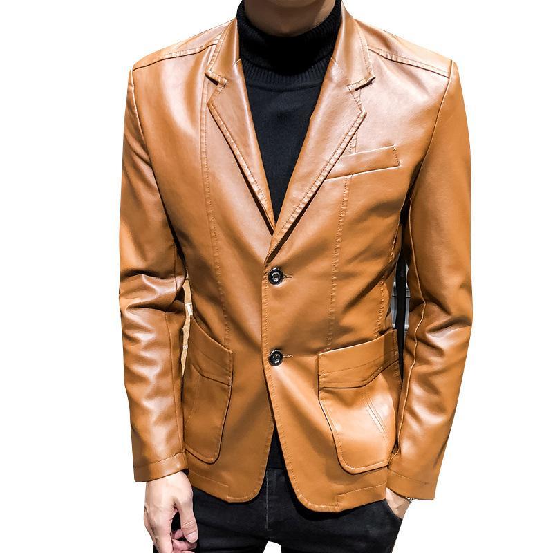 2019 осень и зима новый стиль моды сплошной цвет Большой размер Откидной Воротник Мужчины Локомотив Кожаные куртки Jk25
