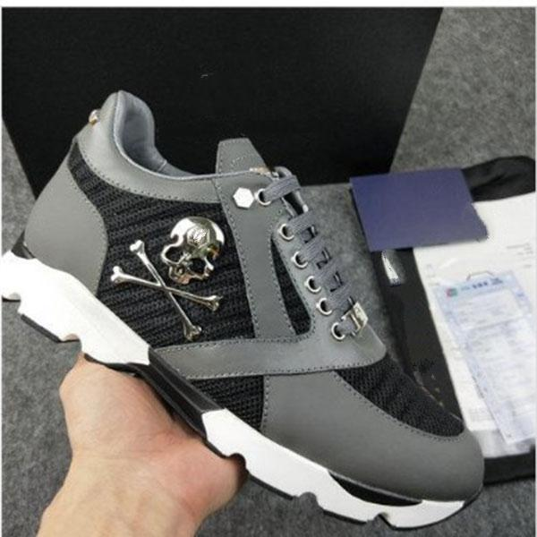 NEW MEN&#39S high quality leather men&#39s casual shoes men&#39s sports shoes skull running shoes-MK06S1