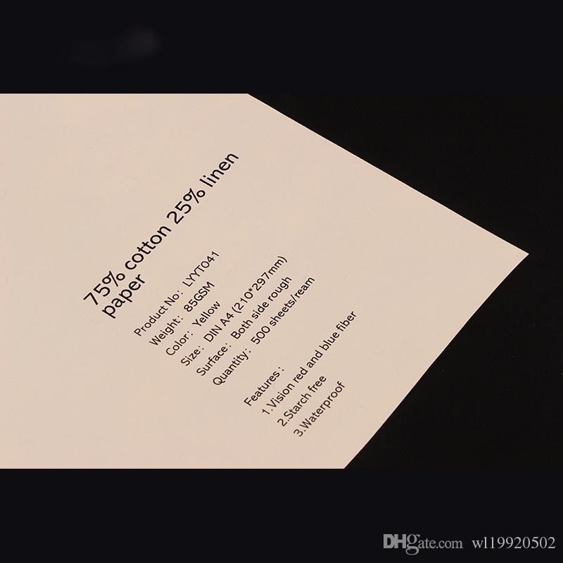 Stärkefreies Papier aus 75% Baumwolle, 25% Leinen, 85 g / m², mit roter und blauer Faser, Banknotenpapier, Farbe Elfenbein, beliebte US-A4-Größe (216 * 279 mm)