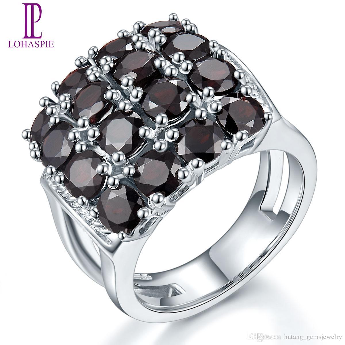 خواتم الخطبة للمرأة هدية 5.6ct جولة 4MM الأسود الطبيعي العقيق الصلبة المجوهرات 925 فضة العنقودية الأحجار الكريمة الجميلة الأزياء حجر