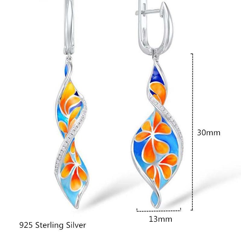 100% Argent 925 Mode Femmes Boucles d'oreilles clip de haute qualité émail Fleur Boucles d'oreilles pour les femmes Fête de mariage Jewellry fin