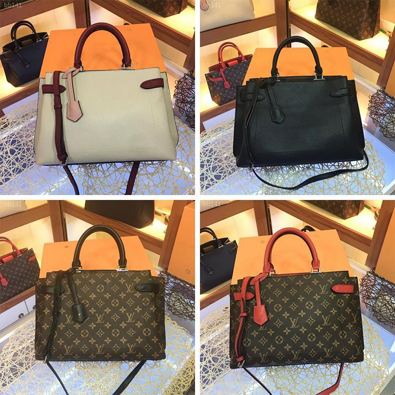 Luxo Bolsa de Ombro Classic Leather Impressão Bolsas Designer Handbag Bolsas de Ombro Mulheres extragrandes Shopping Bag Crossbody Bolsa Tote da compra
