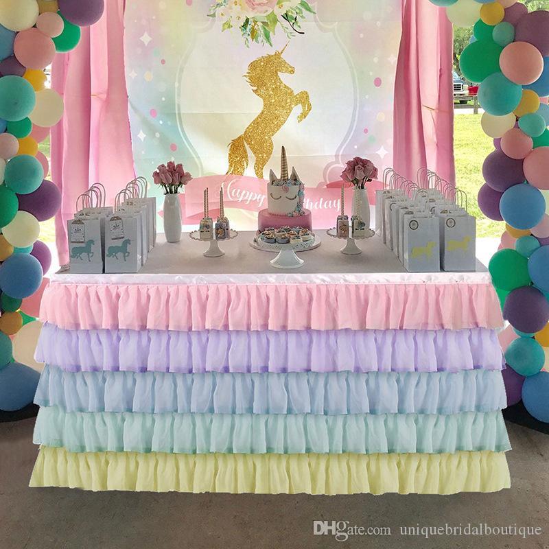 Romantique en mousseline de soie Table Tutu Jupe 2019 pour le mariage anniversaire Baby-Shower Party Décor arc-Volants 1,83 * 2,75m * 0,77 M. * 0,77 M. 4.27m 0,77 M.