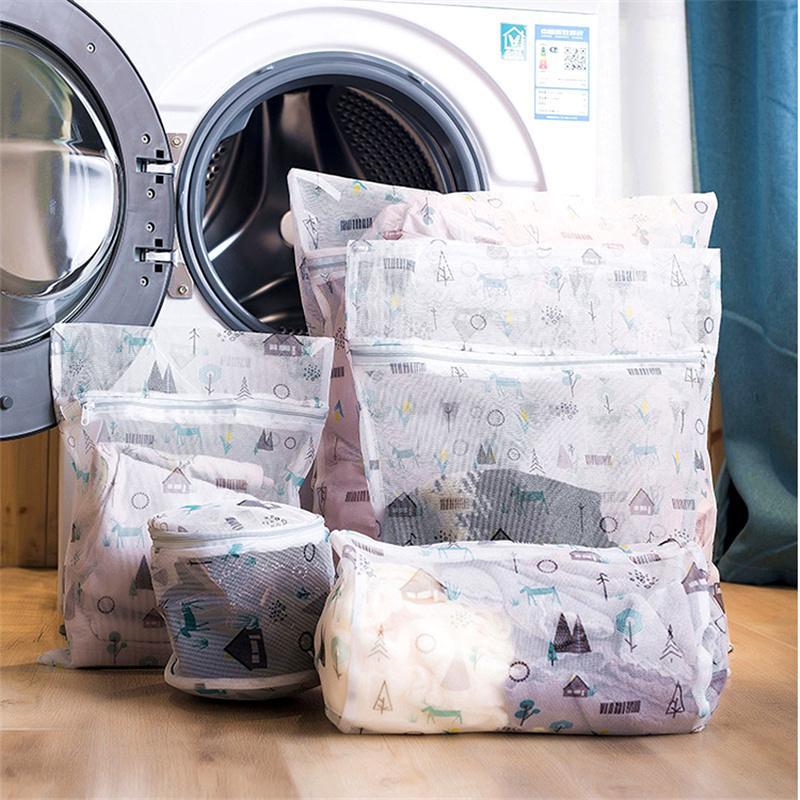1 개 세트 지퍼가 달린 접이식 나일론 세탁 가방 브라 양말 의류 세탁기 보호 메쉬 가방 속옷 주최자 세탁 가방 Y200429