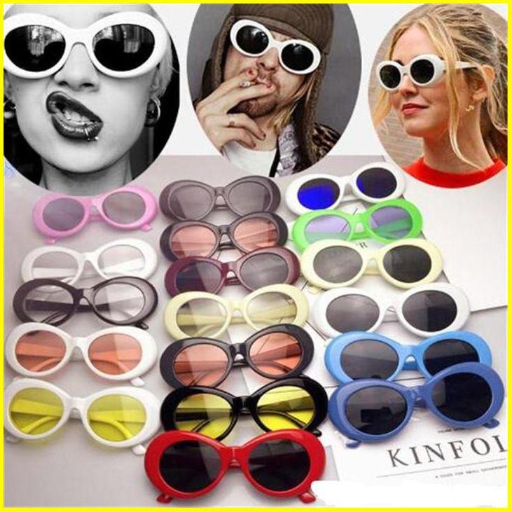 Clout Gözlükler NIRVANA Kurt Cobain Gözlük Klasik Vintage Retro Oval Güneş Shades Güneş Gözlükleri Punk Rock Unisex Kadın Erkek