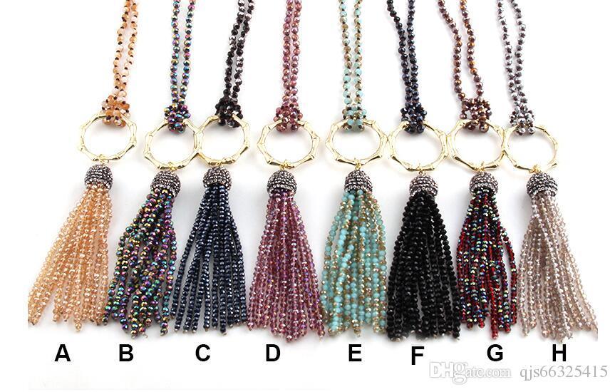 Envío gratis Fashio joyería artesanal Halsband 4 mm Mini cristal con nudos de cristal borla punk collares para Wom