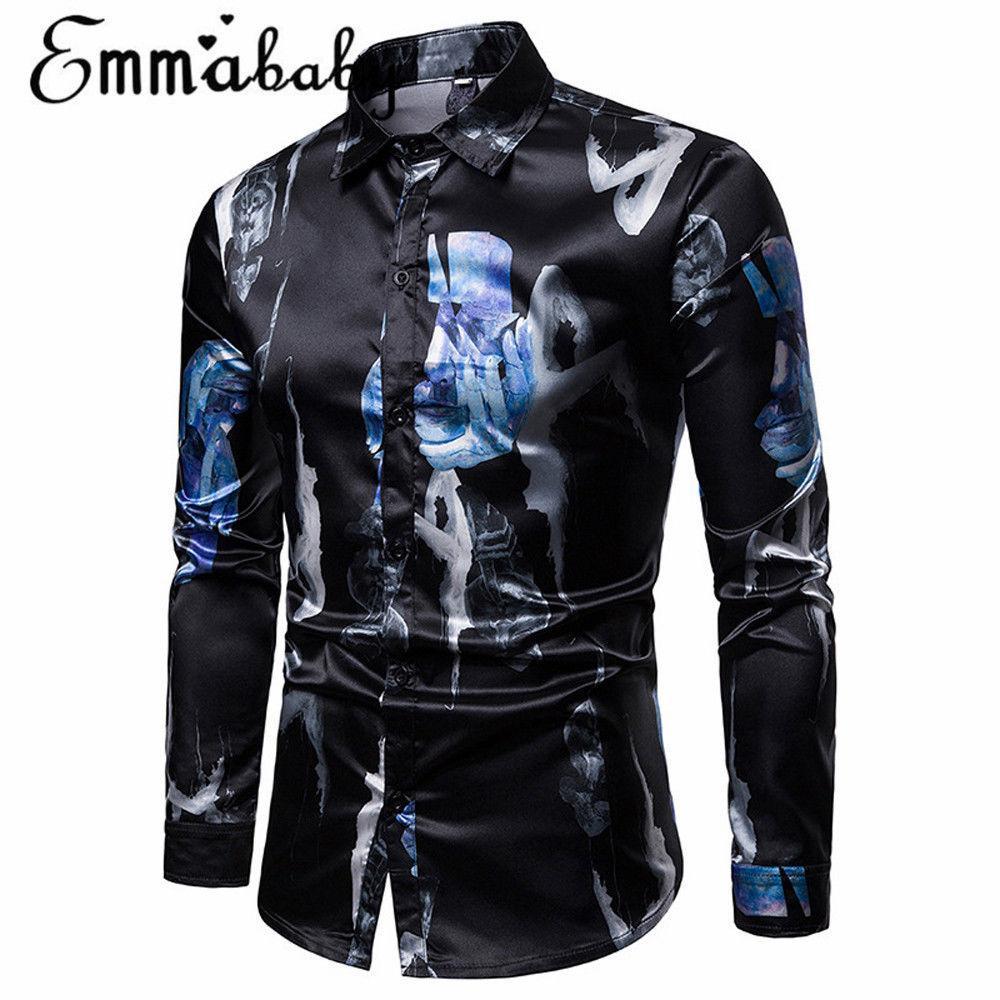 2019 neuer Ankunftmens formal Geschäfts-Einreiher Slim Fit Shirt Bequem Geometric Print toppt Kleid Bluse