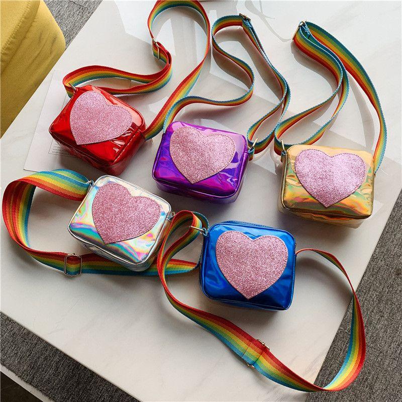 Милая девушка одно плечо лазерное мешок сердца шаблон мини квадратный крест сумка мессажер сумки из искусственной кожи покрашенные ленты мода 5 цветов сумки продажа