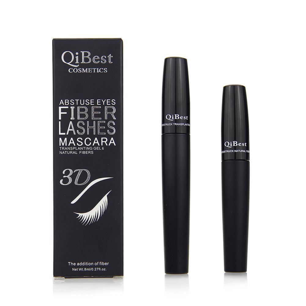 QiBest 3D Fibre Lashes Mascara Waterproo Cosmetics ماسكارا ماسكارا سوداء مزدوجة رموش مكياج رمش مع Fibre GGA1799